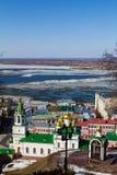 Nizhny Novgorod and Volga early spring Stock Photos