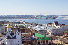 Nizhny Novgorod and Volga early spring Royalty Free Stock Image