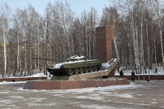 NIZHNY TAGIL, RUSSIA - JANUARY 29, 2015: Photo of Monument to the creators of the T-72. Royalty Free Stock Photography