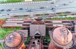 View from old blast furnace on Mining and metallurgical plant in Nizhny Tagil Royalty Free Stock Image