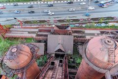 View from old blast furnace on Mining and metallurgical plant in Nizhny Tagil Royalty Free Stock Photo