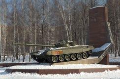 NIZHNY TAGIL, RUSSLAND - 9. MÄRZ 2016: Foto des Behälters T-72 Stockfotografie