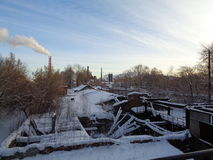 Nizhny Tagil. View from the bridge on the disused area Royalty Free Stock Photography