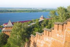 Nizhy Novgorod kremlin. View to the rivers Volga and Oka, Russia Stock Photos