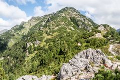 Nizna Magura peak on Otrhance mountain ridge in Western Tatras mountains in Slovakia Stock Photos