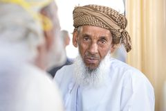 Portrait of an elderly Omani man. royalty free stock photography