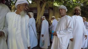 People at old market in Nizwa stock footage