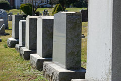 NJ Cemetery. Headstones all in a row in a cemetery in New Jersey Royalty Free Stock Photography