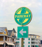 NJ Parkway Sign. NJ Parkway or the Garden State Parkway is the longest and  the busiest toll highway in the state Royalty Free Stock Photo