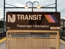 NJ Transit passenger information signboard. Train, station, njtransit, transportation, commuting, commutes, commuters, rushhour, southamboy stock images