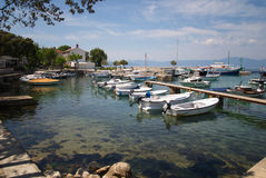 Njivice harbour with motor boats on island Krk Royalty Free Stock Photography
