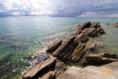 Nkhata bay scene. Rocks at the edge of Lake Malawi, Nkhata Bay Royalty Free Stock Image