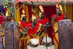 从Nkrabea舞蹈合奏的加纳的鼓手 免版税库存图片