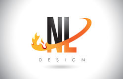 NL N L Letter Logo with Fire Flames Design and Orange Swoosh. NL N L Letter Logo Design with Fire Flames and Orange Swoosh Vector Illustration Stock Photos