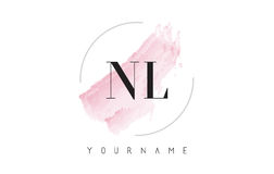 NL N L Watercolor Letter Logo Design with Circular Brush Pattern royalty free illustration