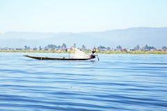 NLE LAKE, MYANMAR - NOVEMBER 15, 2015: Fisherman on Inle Lake Stock Photography