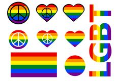 Set of LGBT icons. Flag LGBT. vector. NLGBT letters in the colors of the rainbow. Rainbow heart. Round flag icon with peace symbol. vector
