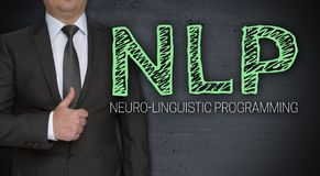 NLP concept and businessman with thumbs up.  stock image