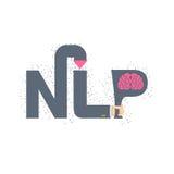 NLP embleem en embleem Hand die een brief met hersenen houden Vector IL Stock Fotografie