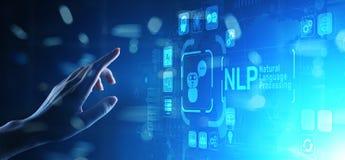 NLP językowego przerobu technologii naturalny poznawczy oblicza pojęcie na wirtualnym ekranie ilustracja wektor