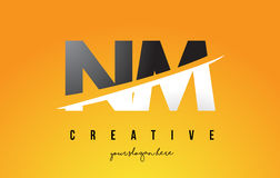 NM N M Letter Modern Logo Design with Yellow Background and Swoo. NM N M Letter Modern Logo Design with Swoosh Cutting the Middle Letters and Yellow Background Stock Photo
