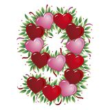 Número 9 - Coração do Valentim Imagem de Stock Royalty Free
