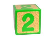 Número 2 - bloque del alfabeto de los niños. Fotografía de archivo