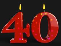 Número cuarenta velas de la demostración de decoraciones del partido o Fotografía de archivo