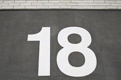 Número dieciocho Imágenes de archivo libres de regalías