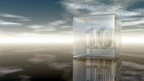 Número diez en el cubo de cristal Imagen de archivo