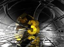 Número três no espaço futurista abstrato Foto de Stock Royalty Free