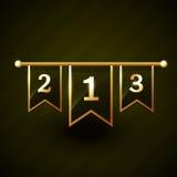 Número um dois etiqueta dourada de três vetores Fotos de Stock