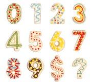 Números 0 9 dos bolinhos decorados Fotos de Stock Royalty Free