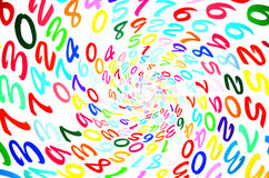 Números aleatórios coloridos em uma forma espiral Fotografia de Stock