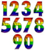 Números alegres del indicador del arco iris Foto de archivo libre de regalías