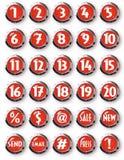 Números blancos de los botones redondos rojos de Chrome y otros símbolos Fotos de archivo