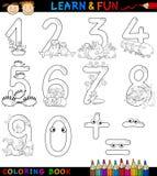 Números com os animais dos desenhos animados para a coloração Fotografia de Stock