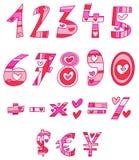 Números del amor Imágenes de archivo libres de regalías