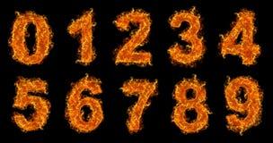 Números del fuego fijados Fotos de archivo