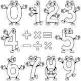 Números dos desenhos animados da coloração Imagem de Stock