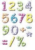 Números e símbolos das flores brancas Fotografia de Stock Royalty Free