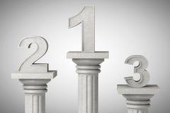Números um, dois e três sobre a coluna clássica Imagens de Stock