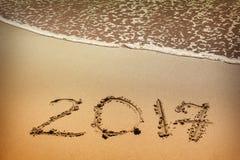 2017, nmessage in het strand wordt geschreven dat Stock Fotografie