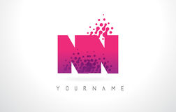 NN N Letter Logo with Pink Purple Color and Particles Dots Desig Royalty Free Stock Image