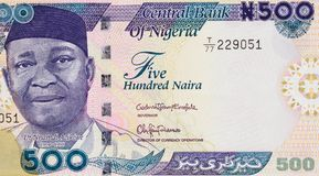 Nnamdi Azikiwe portrait on Nigeria 500 naira 2016 banknote clo. Seup macro, Nigerian money close up royalty free stock images