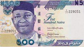 Nnamdi Azikiwe stående på Nigeria 500 nairasedelclo 2016 Arkivfoto