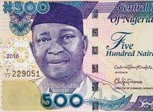 Nnamdi Azikiwe stående på nigeriansk 500 naira sedelcl 2016 Arkivbilder