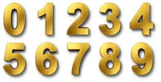 Nnumbers in goud Stock Afbeeldingen