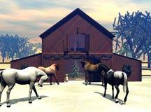 Noël à la grange Images stock