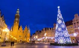 Noël à Wroclaw la nuit, Pologne Photo libre de droits